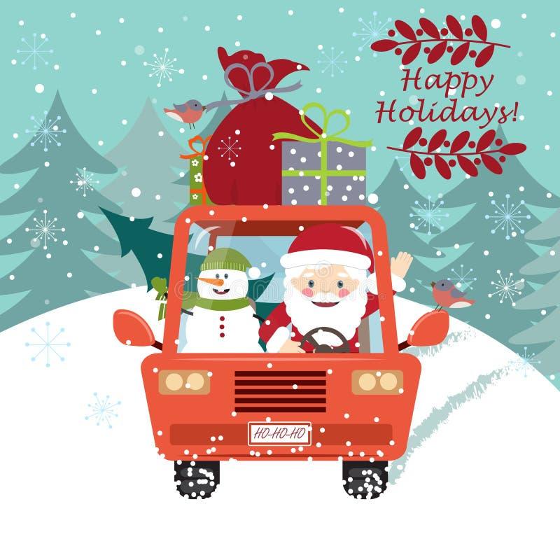 Άγιος Βασίλης που οδηγεί το αυτοκίνητο με έναν χαριτωμένο χιονάνθρωπο απεικόνιση αποθεμάτων