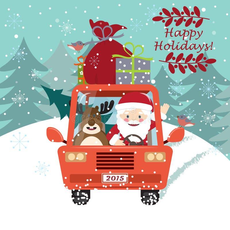 Άγιος Βασίλης που οδηγεί το αυτοκίνητο με ένα χαριτωμένο ελάφι απεικόνιση αποθεμάτων