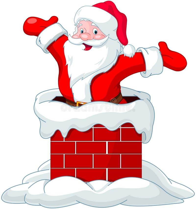 Άγιος Βασίλης που πηδά από την καπνοδόχο ελεύθερη απεικόνιση δικαιώματος