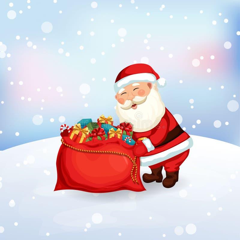 Άγιος Βασίλης που συσκευάζει μια τσάντα των δώρων ελεύθερη απεικόνιση δικαιώματος