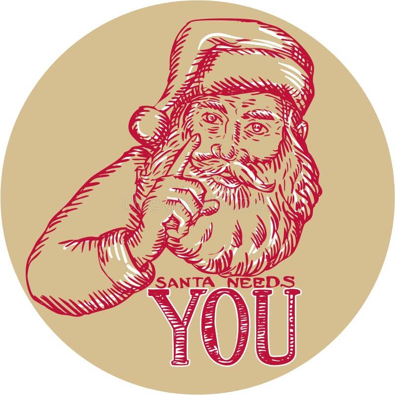 Άγιος Βασίλης σας χρειάζεται που δείχνετε χαρακτική ελεύθερη απεικόνιση δικαιώματος