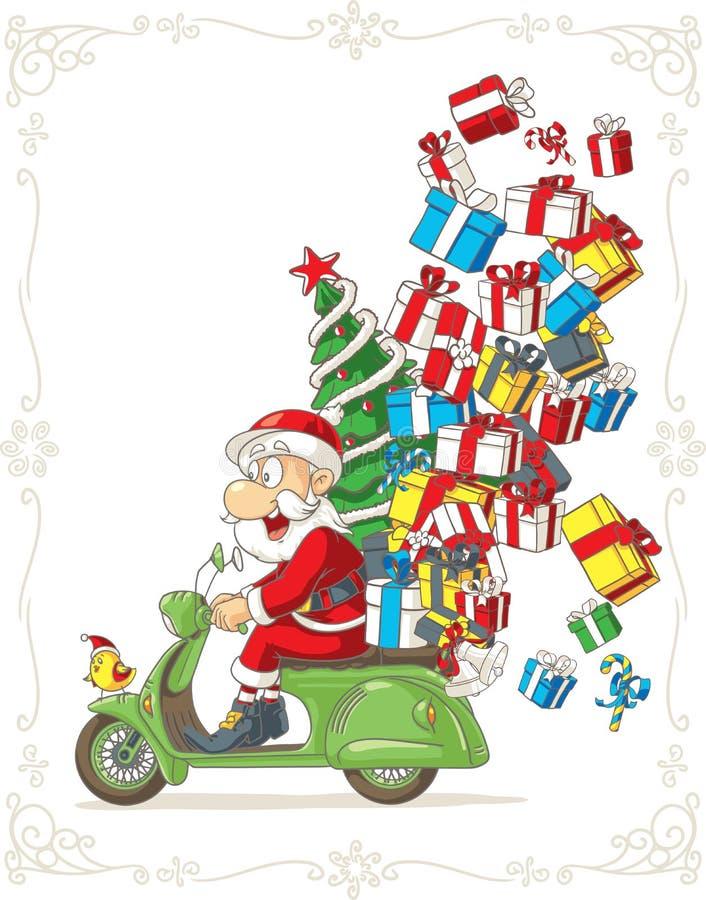 Άγιος Βασίλης στα ανόητα διανυσματικά κινούμενα σχέδια μηχανικών δίκυκλων διανυσματική απεικόνιση