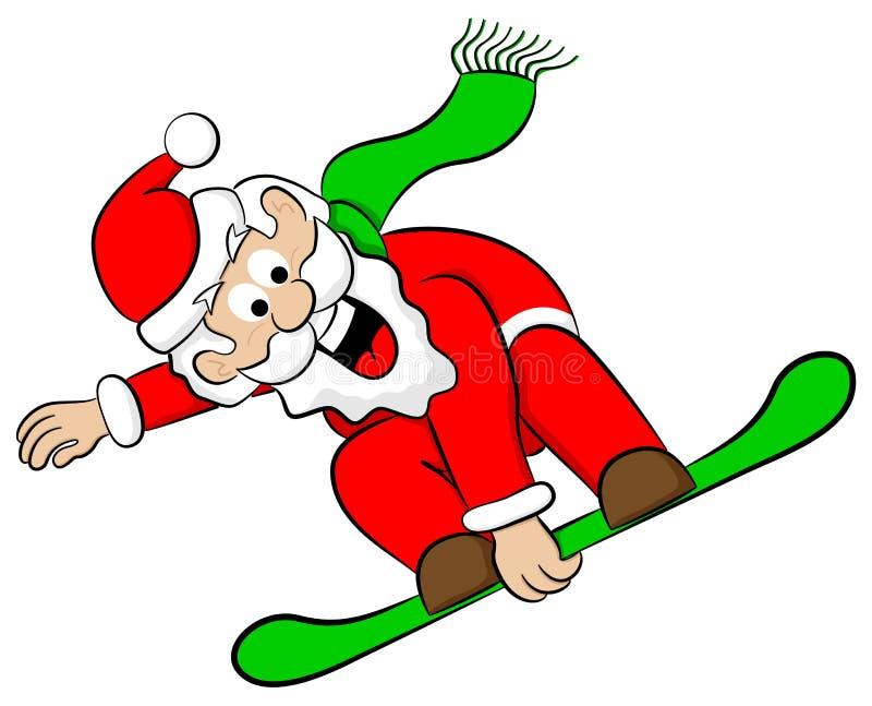 Άγιος Βασίλης snowboarder διανυσματική απεικόνιση
