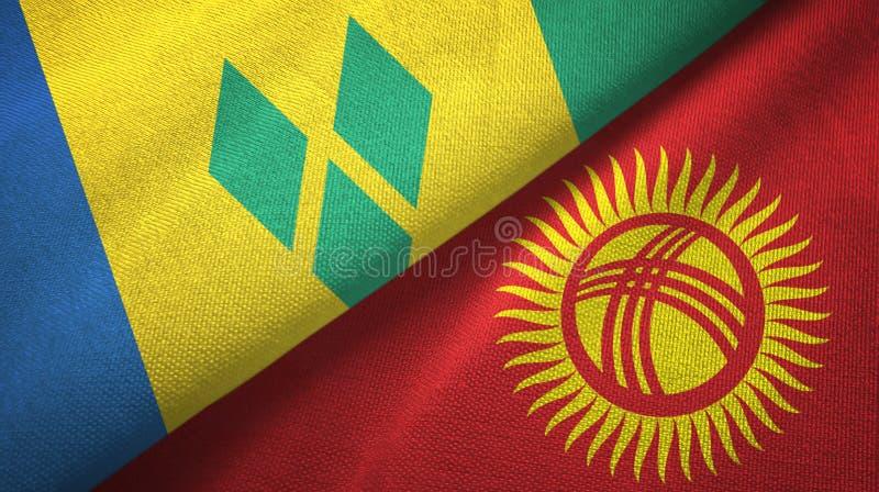 Άγιος Βικέντιος και Γρεναδίνες και Κιργιστάν δύο σημαίες ελεύθερη απεικόνιση δικαιώματος