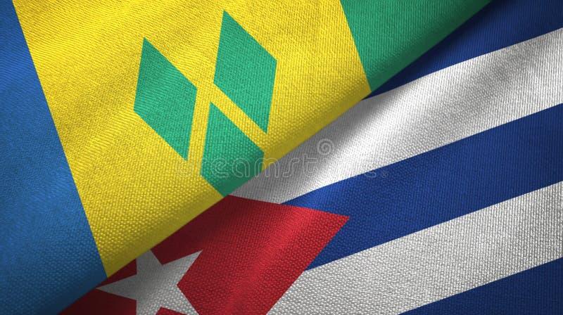 Άγιος Βικέντιος και Γρεναδίνες και Κούβα δύο σημαίες απεικόνιση αποθεμάτων