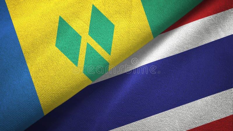 Άγιος Βικέντιος και Γρεναδίνες και Ταϊλάνδη δύο σημαίες ελεύθερη απεικόνιση δικαιώματος