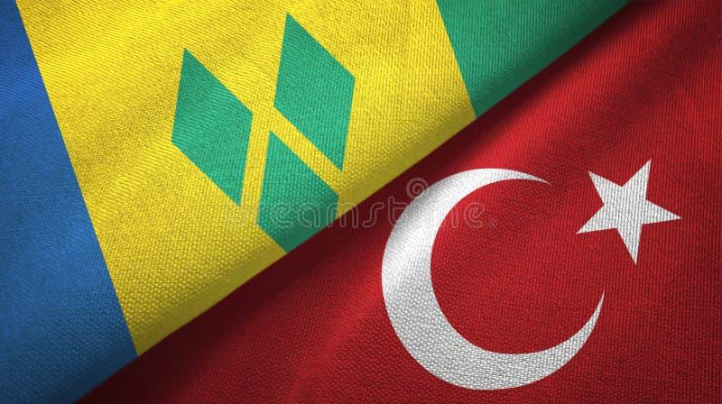 Άγιος Βικέντιος και Γρεναδίνες και Τουρκία δύο σημαίες απεικόνιση αποθεμάτων
