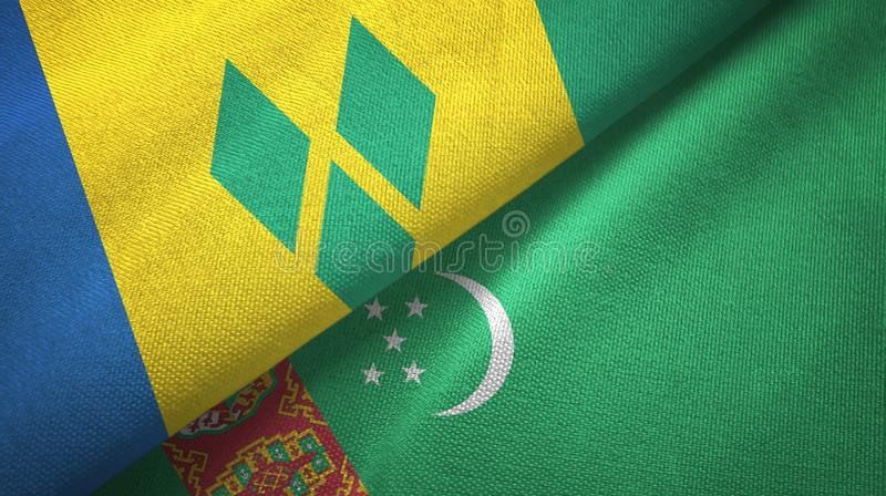 Άγιος Βικέντιος και Γρεναδίνες και Τουρκμενιστάν δύο σημαίες διανυσματική απεικόνιση
