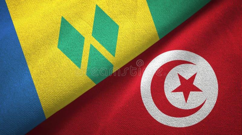 Άγιος Βικέντιος και Γρεναδίνες και Τυνησία δύο σημαίες απεικόνιση αποθεμάτων