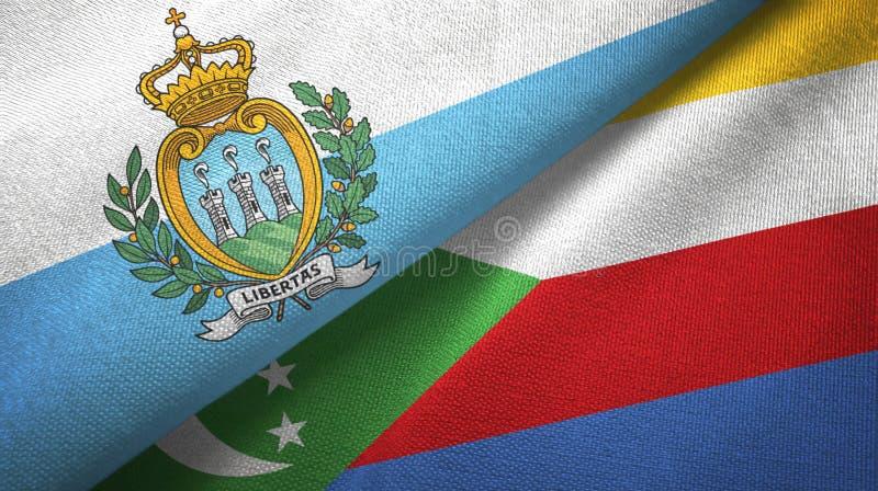 Άγιος Μαρίνος και Κομόρες δύο υφαντικό ύφασμα σημαιών, σύσταση υφάσματος διανυσματική απεικόνιση