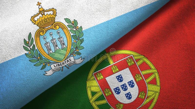 Άγιος Μαρίνος και Πορτογαλία δύο υφαντικό ύφασμα σημαιών, σύσταση υφάσματος απεικόνιση αποθεμάτων