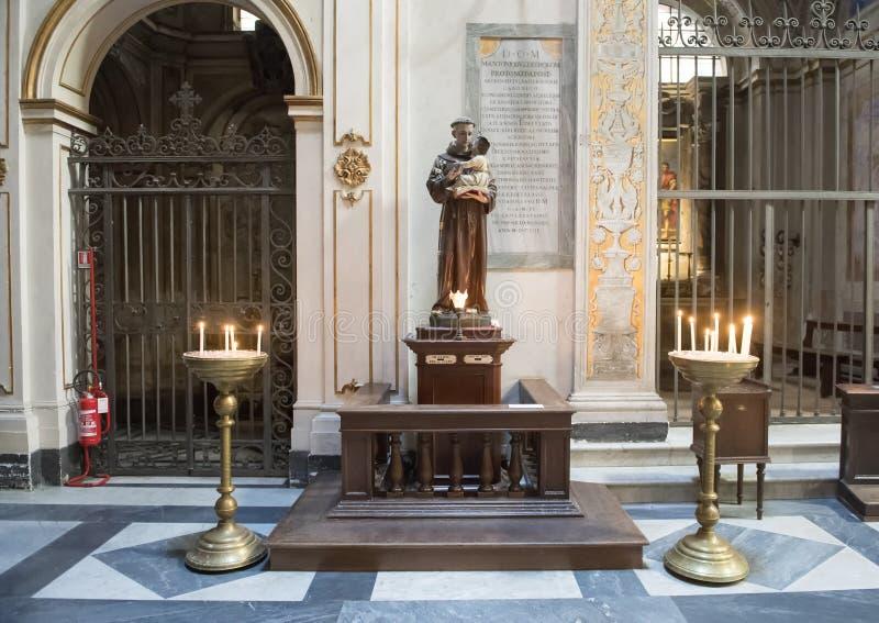 Άγιος Anthony της Πάδοβας με το νήπιο Ιησούς, προσφορά στη βασιλική Άγιος Μαρία Trastevere στοκ φωτογραφίες με δικαίωμα ελεύθερης χρήσης