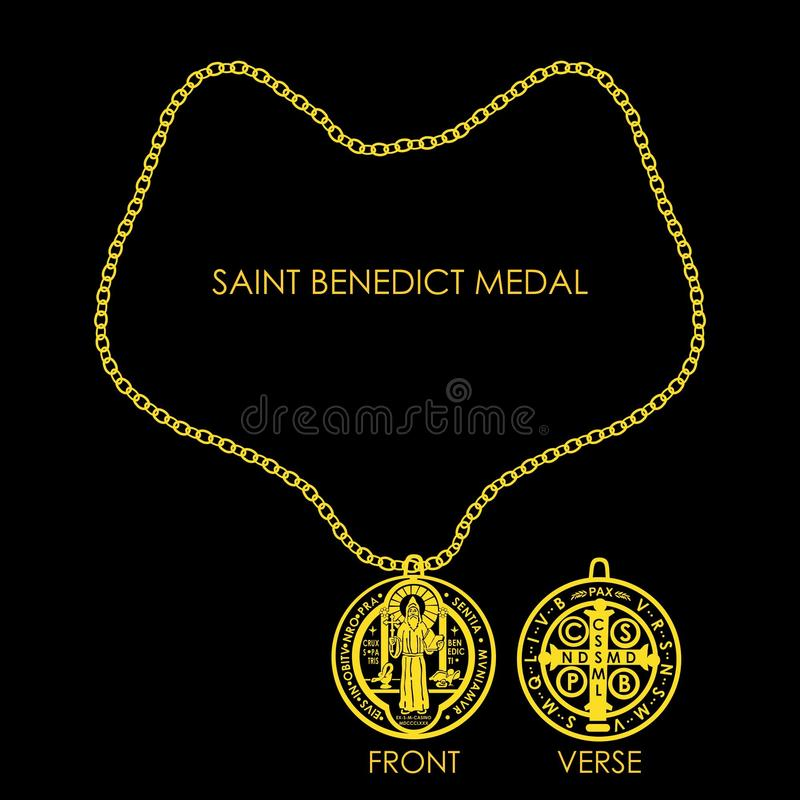 Άγιος Benedict Medal Golden απεικόνιση αποθεμάτων