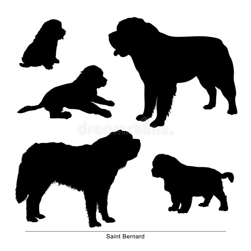 Άγιος Bernard το σκυλί είναι μεγάλο και μικρό διανυσματική απεικόνιση