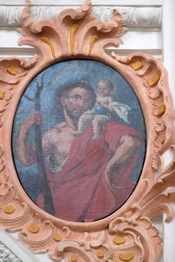 Άγιος Christopher, νωπογραφία στην εκκλησία Jesuit του ST Francis Xavier σε Λουκέρνη στοκ φωτογραφία με δικαίωμα ελεύθερης χρήσης