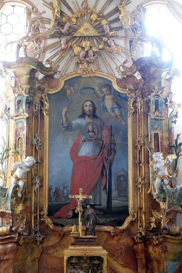 Άγιος Jude ο βωμός αποστόλων στο κιστερκιανό αβαείο Bronbach, Γερμανία στοκ εικόνες
