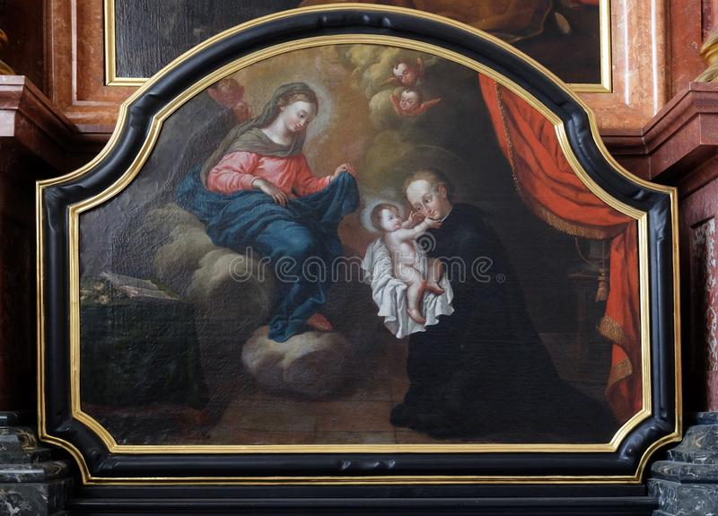 Άγιος Stanislaus Kostka που το νήπιο Ιησούς, λατρεία του βωμού μάγων στην εκκλησία Jesuit του ST Francis Xavier σε Λουκέρνη στοκ εικόνες με δικαίωμα ελεύθερης χρήσης