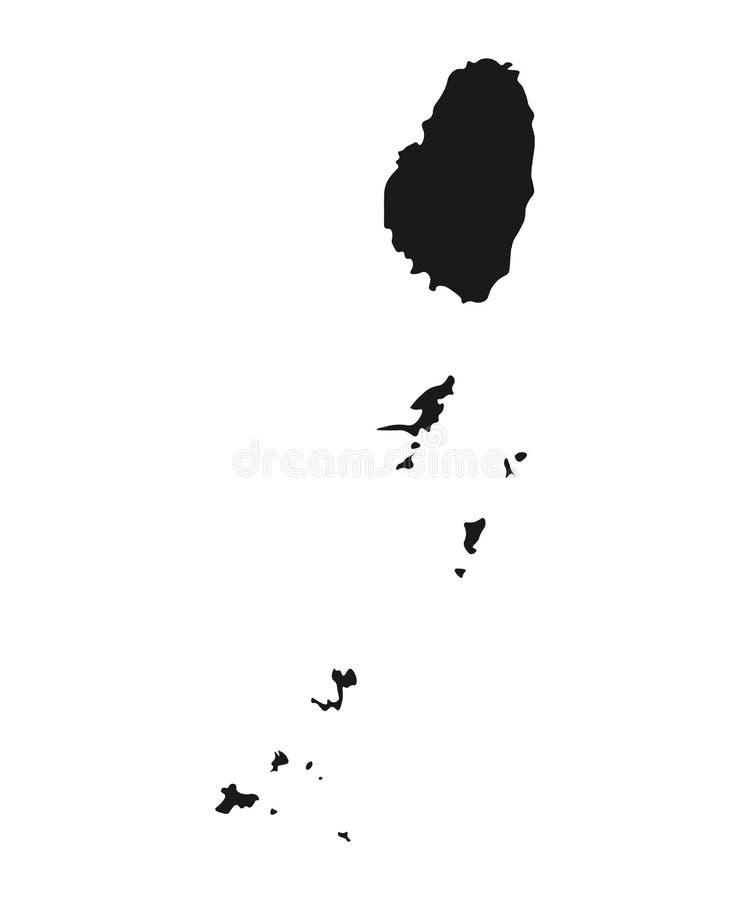 Άγιος vincent ο διανυσματικός χάρτης των Γρεναδινών απομονωμένο χώρα υπόβαθρο απεικόνισης ελεύθερη απεικόνιση δικαιώματος