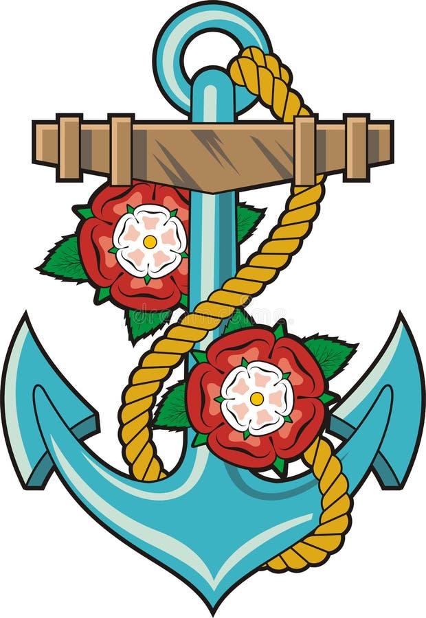 Άγκυρα και τριαντάφυλλα διανυσματική απεικόνιση
