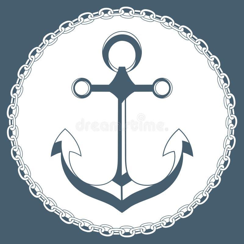 Άγκυρα σε ένα πλαίσιο με μια αλυσίδα Θαλάσσιο λογότυπο έννοιας απεικόνιση αποθεμάτων