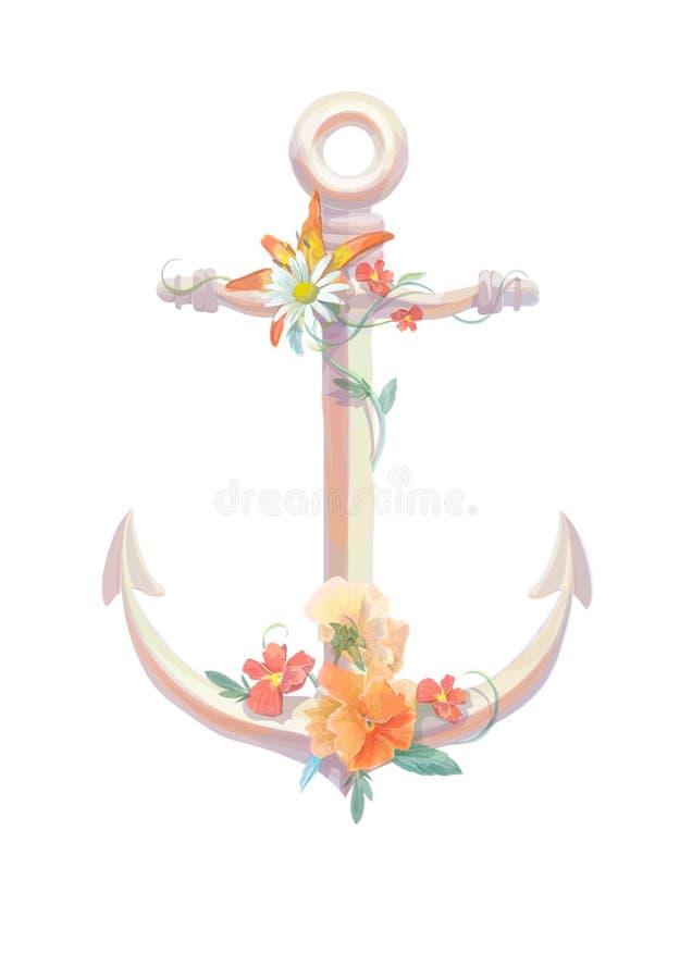 Άγκυρα Watercolor, viola λουλουδιών, τρύγος ελεύθερη απεικόνιση δικαιώματος
