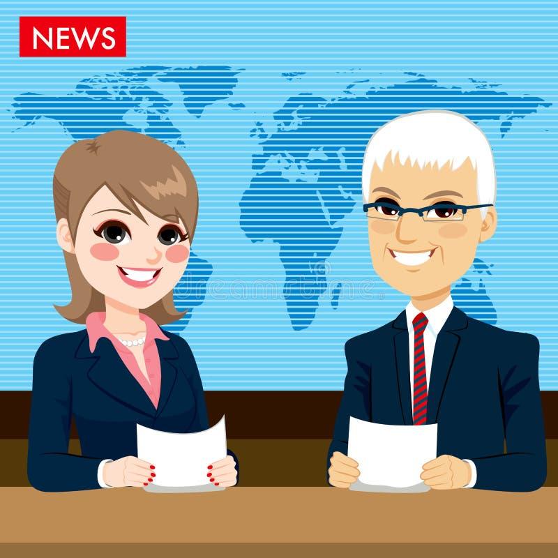 Άγκυρες που εκθέτουν τις ειδήσεις απεικόνιση αποθεμάτων