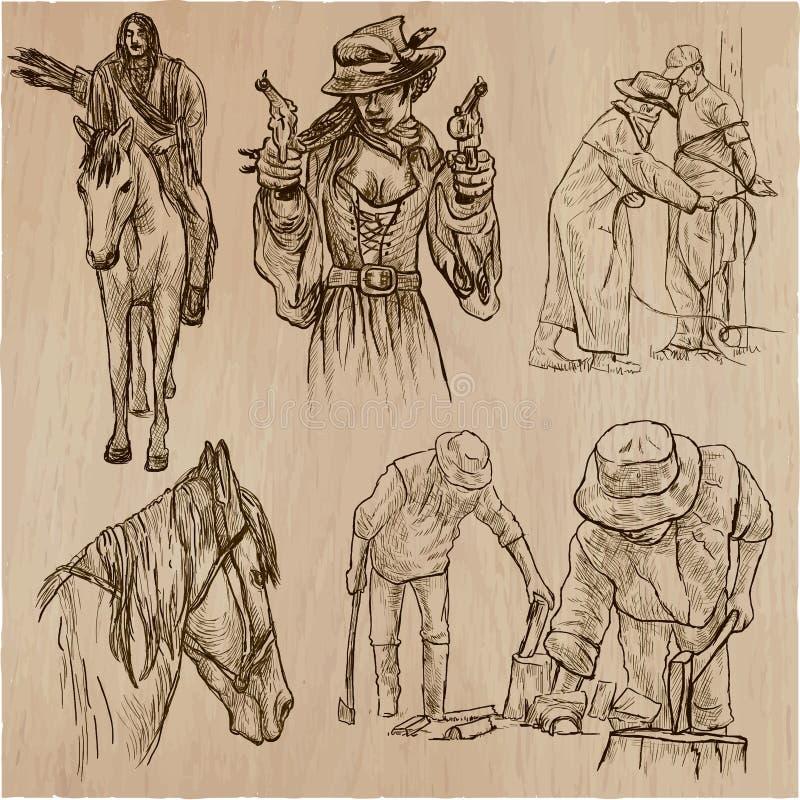 Άγρια δύση και αμερικανοί ιθαγενείς - ένα συρμένο χέρι διανυσματικό πακέτο γραμμή απεικόνιση αποθεμάτων
