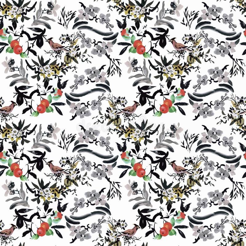 Άγρια εξωτικά πουλιά Watercolor στο άνευ ραφής σχέδιο λουλουδιών στο άσπρο υπόβαθρο απεικόνιση αποθεμάτων