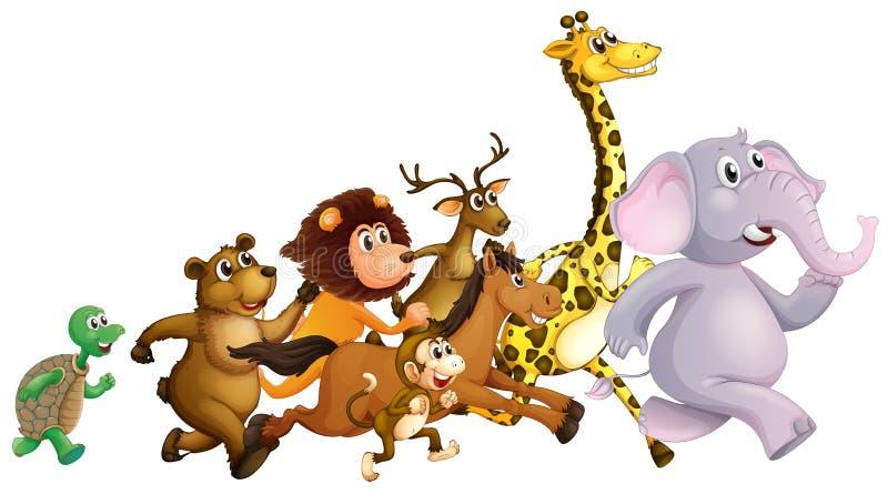 Άγρια ζώα που τρέχουν από κοινού διανυσματική απεικόνιση