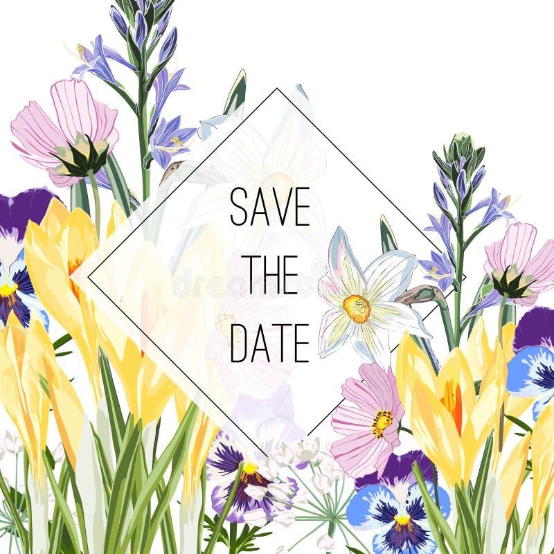 Άγρια κρόκος, viola, λουλούδια κουδουνιών και ανθοδέσμη χορταριών, κομψό πρότυπο καρτών Η Floral αφίσα, προσκαλεί διανυσματική απεικόνιση