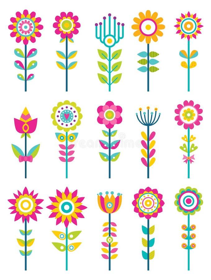 Άγρια λουλούδια τομέων στο ζωηρόχρωμο διακοσμητικό σχέδιο ελεύθερη απεικόνιση δικαιώματος