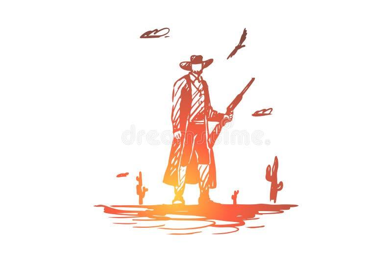 Άγρια περιοχές, δύση, κάουμποϋ, πυροβόλο όπλο, καπέλο, δυτική έννοια Συρμένο χέρι απομονωμένο διάνυσμα απεικόνιση αποθεμάτων