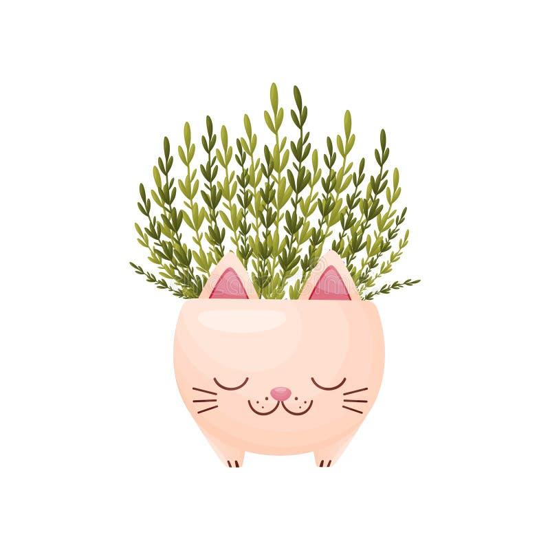 Άγρια πράσινα σε ένα βάζο υπό μορφή χαριτωμένης γάτας E απεικόνιση αποθεμάτων
