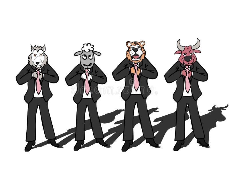 Άγρια τίγρη προβάτων ταύρων λύκων επιχειρηματιών ελεύθερη απεικόνιση δικαιώματος