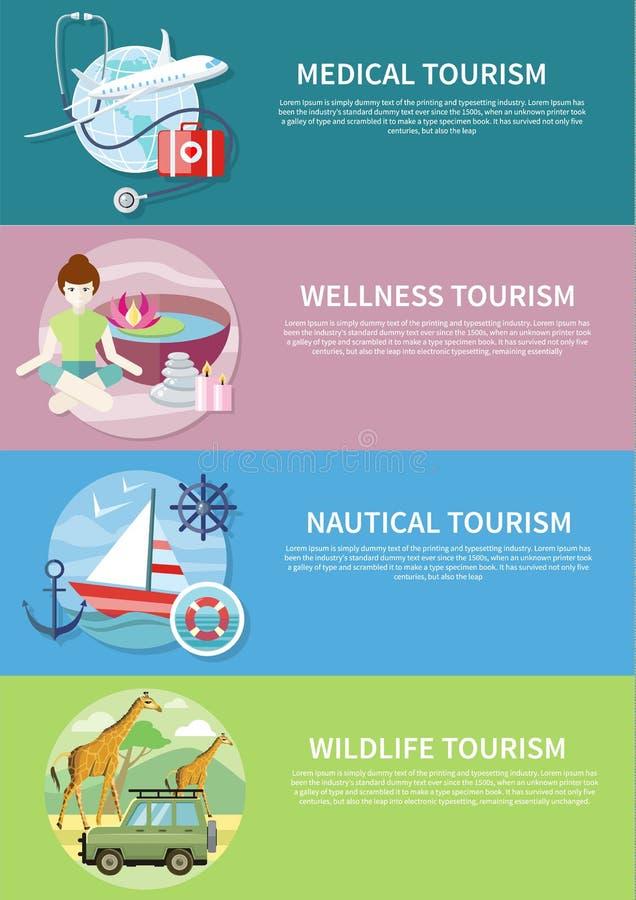 Άγρια φύση, Wellness, ιατρικός και ναυτικός τουρισμός απεικόνιση αποθεμάτων