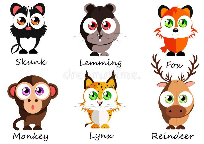 άγριος Καθορισμένα χαριτωμένα ζώα για τη χρήση ως αυτοκόλλητες ετικέττες, εικόνες στα βιβλία, les διανυσματική απεικόνιση