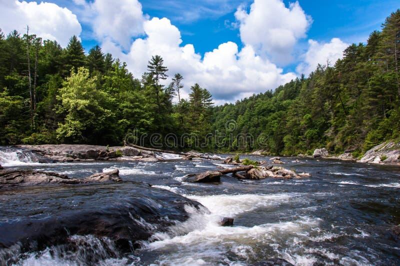 Άγριος και φυσικός ποταμός Chattooga, μπλε ουρανοί, άσπρα σύννεφα στοκ εικόνες με δικαίωμα ελεύθερης χρήσης