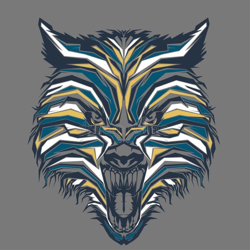 άγριος λύκος στη λαϊκή τέχνη διανυσματική απεικόνιση