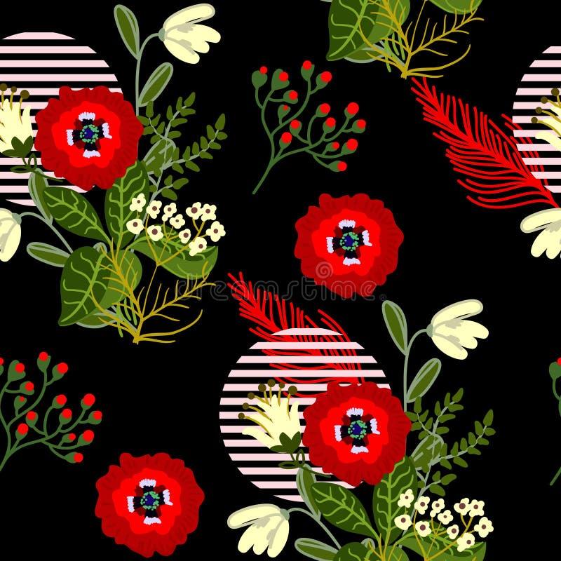 Άγριο άνευ ραφής σχέδιο λουλουδιών για το υφαντικό σχέδιο στο ιαπωνικό ύφος επίσης corel σύρετε το διάνυσμα απεικόνισης ελεύθερη απεικόνιση δικαιώματος