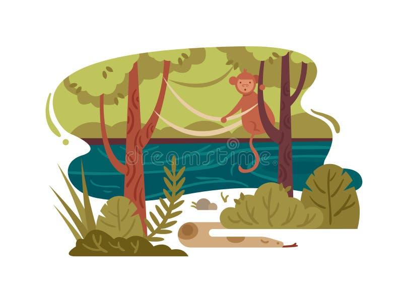 Άγριο δάσος ζουγκλών διανυσματική απεικόνιση