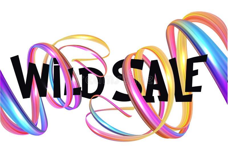 Άγριο έμβλημα πώλησης με τις ζωηρόχρωμες σγουρές κορδέλλες διανυσματική απεικόνιση