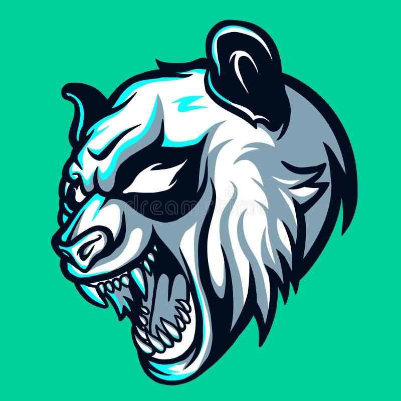 Άγριο λογότυπο της Panda Esports για το τυχερό παιχνίδι και τη σύσπαση μασκότ απεικόνιση αποθεμάτων