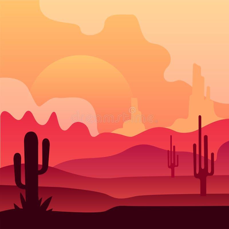 Άγριο μεξικάνικο τοπίο ερήμων με τις εγκαταστάσεις κάκτων και το όμορφο ηλιοβασίλεμα φυσικό τοπίο Διανυσματικό σχέδιο στα χρώματα διανυσματική απεικόνιση