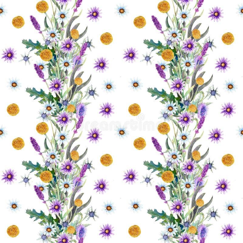 Άγριο υπόβαθρο λουλουδιών r Άγριο υπόβαθρο Watercolor λουλουδιών ελεύθερη απεικόνιση δικαιώματος