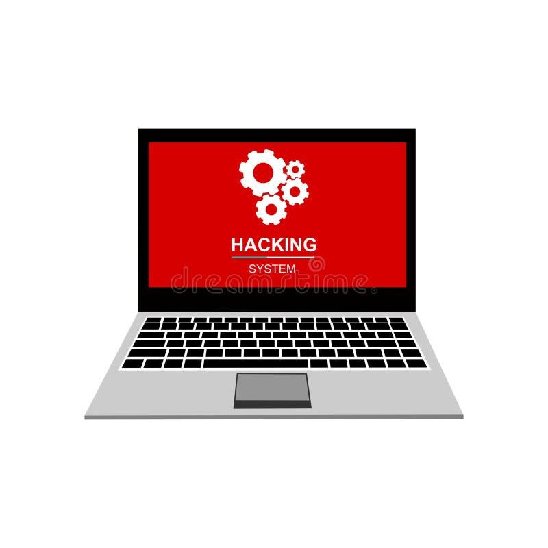 Άγρυπνη ανακοίνωση στο διάνυσμα φορητών προσωπικών υπολογιστών, malware έννοια, spam στοιχεία, λάθος Διαδικτύου απάτης απεικόνιση αποθεμάτων