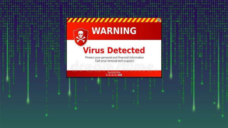 Άγρυπνο μήνυμα του ιού που ανιχνεύεται Ανίχνευση και προσδιορισμός του ιού υπολογιστών μέσα στη λίστα δυαδικού κώδικα της μήτρας  απεικόνιση αποθεμάτων