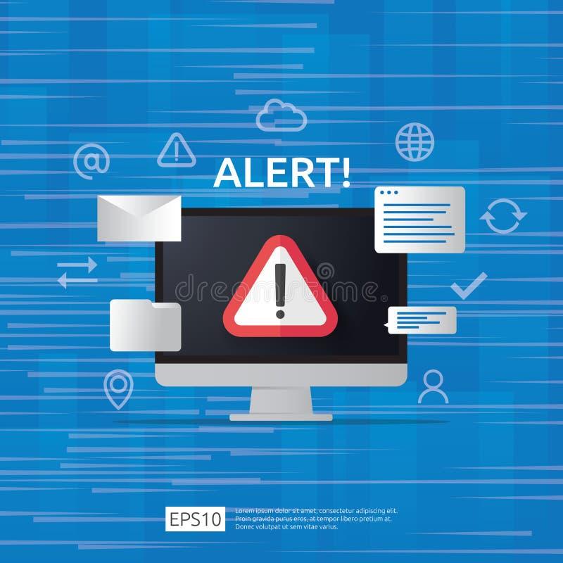 άγρυπνο σημάδι επιτιθεμένων προειδοποίησης προσοχής με το σημάδι θαυμαστικών στην οθόνη οργάνων ελέγχου υπολογιστών beware επαγρύ διανυσματική απεικόνιση