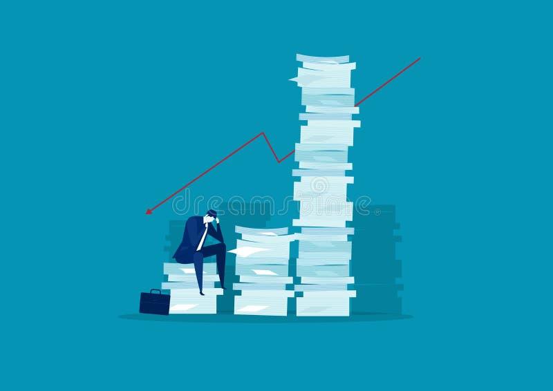 Άγχος και λύση επιχειρηματία με πολύ ψηλή στοίβα χαρτιού σε σχέση με τον άνθρωπο σε μπλε φόντο απεικόνιση αποθεμάτων