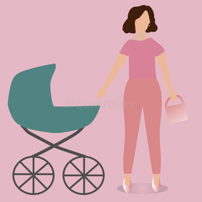 ΆΔΕΙΕΣ ΜΗΤΡΌΤΗΤΑΣ Νέα μητέρα με έναν περιπατητή απεικόνιση αποθεμάτων