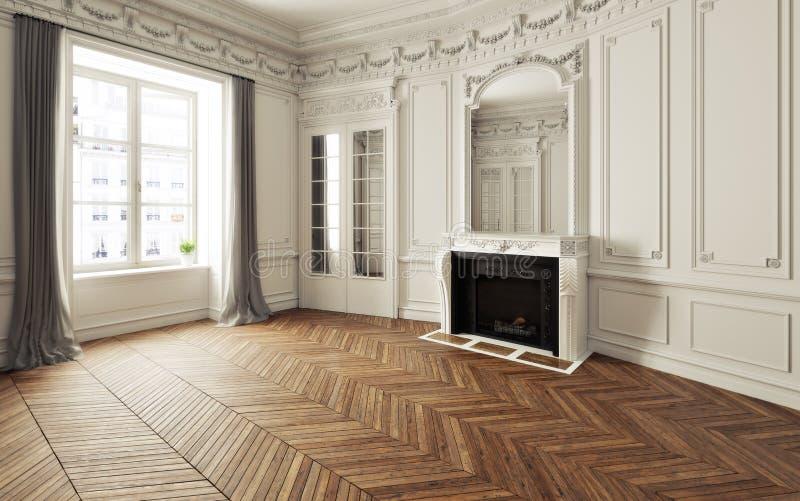 Άδειο δωμάτιο εκλεπτυσμένης κατοικίας με τζάκι, λευκό τριμ Βικτωριανή προφορά εσωτερικό χώρο και δάπεδο από ξύλο ψαροκόκαλου διανυσματική απεικόνιση